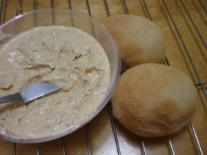 hot pandesal with roasted bell pepper spread yum!