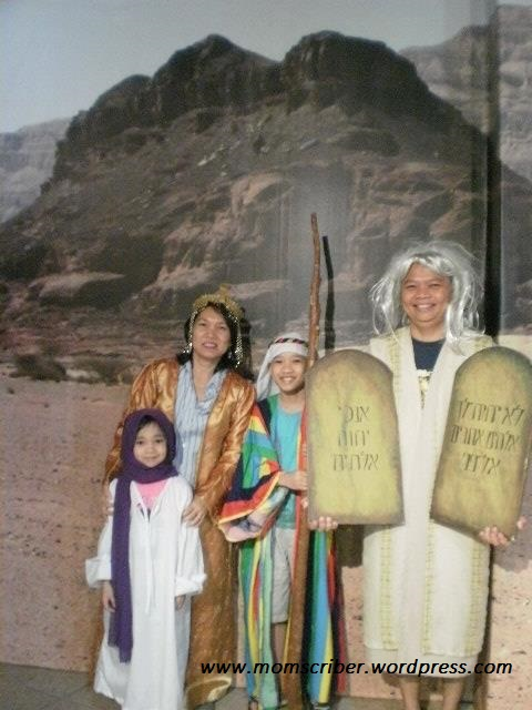 Peewee as Moses, Me as Queen Esther, Jianne as the Rebekah, and Coby as Joseph