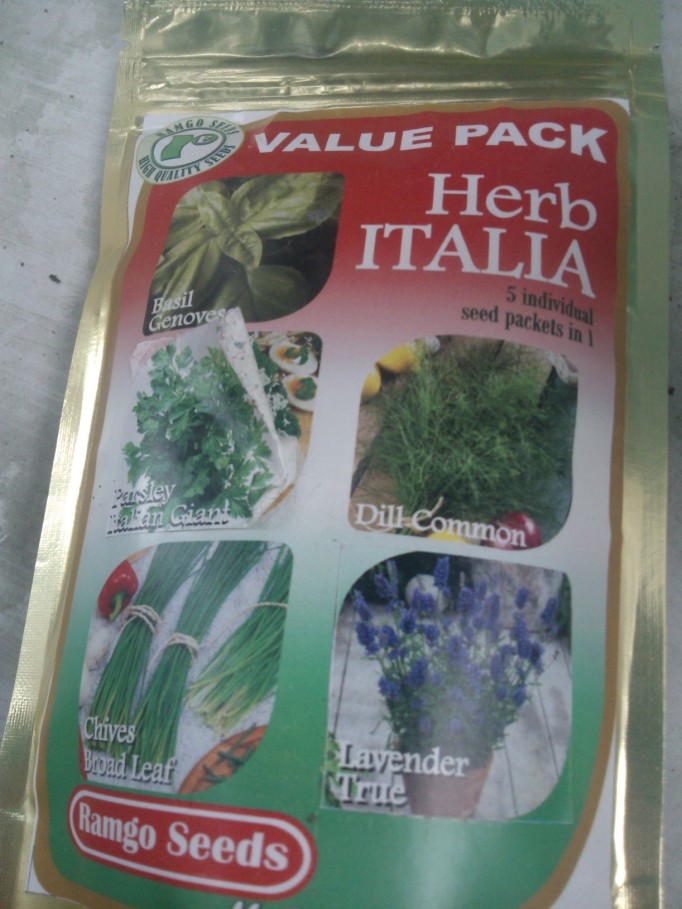 our seed pack basil, dill, parsley, lavender and chives with a free arugula seed pack too :-0